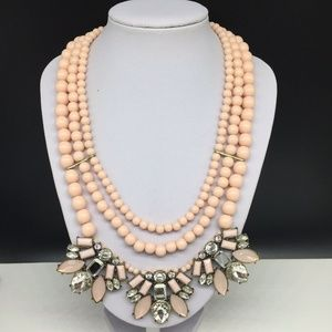 Talbots Pink Beaded Clear Rhinestone Necklace
